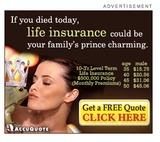 AccuQuote Ad - If you died today, life insurance could be your family's prince charming.